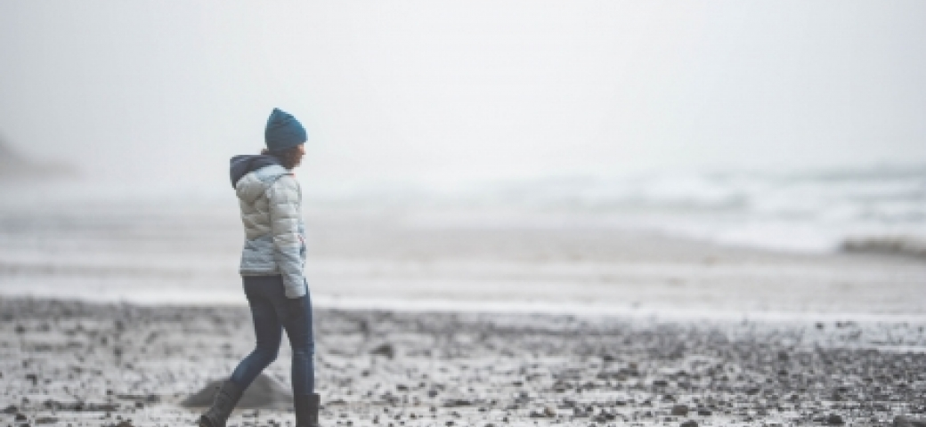 person walking alone on a beach, landscape is gray