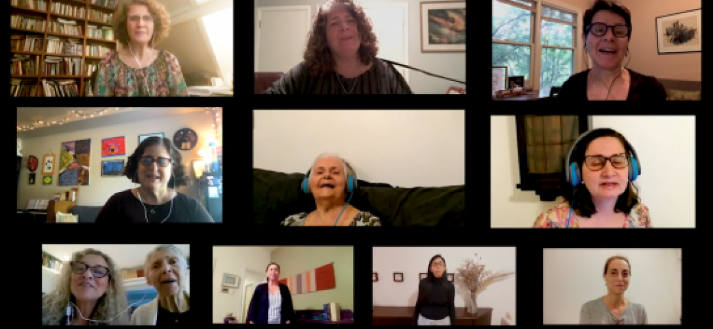 family singing together on zoom