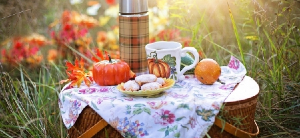 fall picnic outdoors with drink, pumpkin, cookies