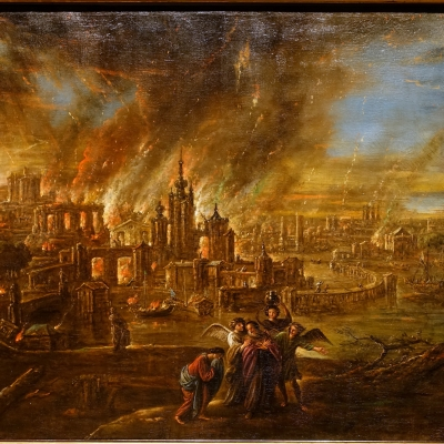 Sodom and Gomorrah afire by Jacob de Wet II, 1680, from Wikipedia