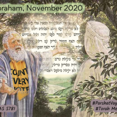 """meme image in which a white-bearded man wearing a """"count every vote"""" t-shirt appears to be pleading with a man in a white robe and head covering (face not shown) with Hebrew Torah text in the background and a tree next to the man in white"""