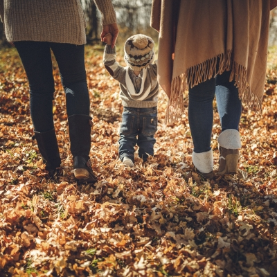 two adults holding the hands of a toddler, walking on leaves