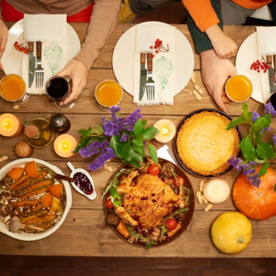 holiday table with traditional fall foods