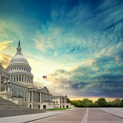 u.s. capitol building with beautiful blue sky behind it