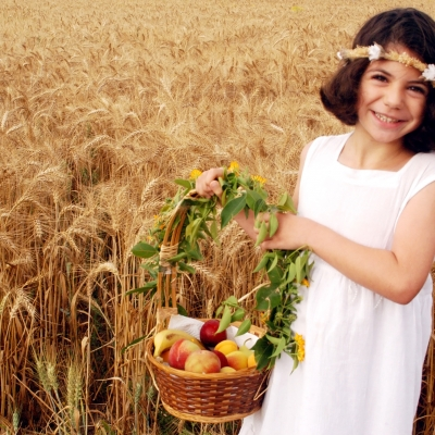 little girl wearing flower wreath on her head holding basket of fruit in wheat field