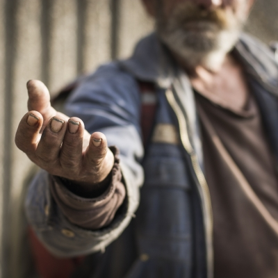 man with outstretched hand