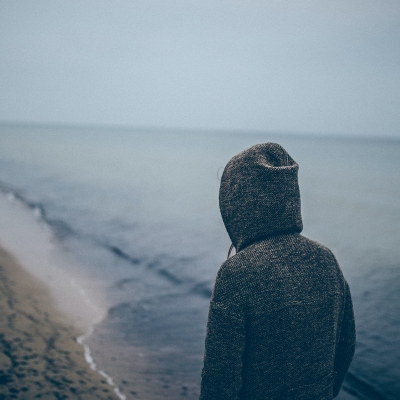 person shown from behind in gray hoodie walking along grayish blue shore