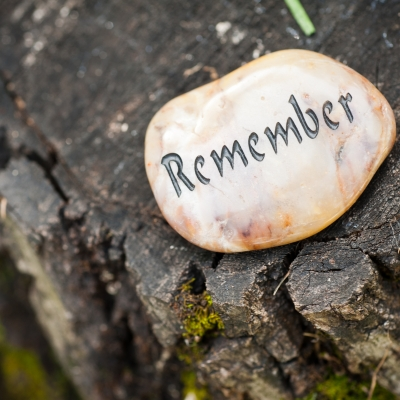 stone with the word remember on it on a tree stump