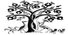 pomegrante tree drawn in black and white with animals underneath