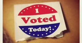I voted today red, white, and blue sticker