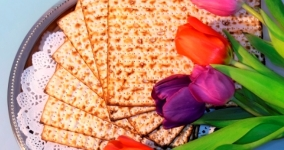 matzah and tulips
