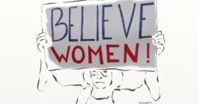 illustration of woman holding sign that says believe women