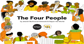 "Diverse people sitting around a table with the worlds ""The Four People"" in the middle"