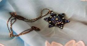 close up of star of david necklace on prayer shawl