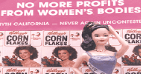 "barbie doll dressed as a beauty pageant contestant with title ""no more profits from women's bodies"""