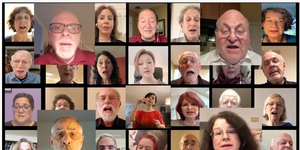 group of people singing in harmony on zoom
