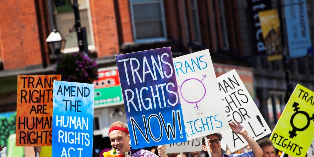 protest featuring signs that say trans rights now and others