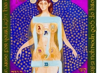 woman with the hebrew letters drawn on different places of her body